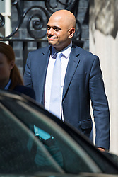 Home Secretary Sajid Javid leaves the weekly UK cabinet meeting at 10 Downing Street in London, May 01 2018.