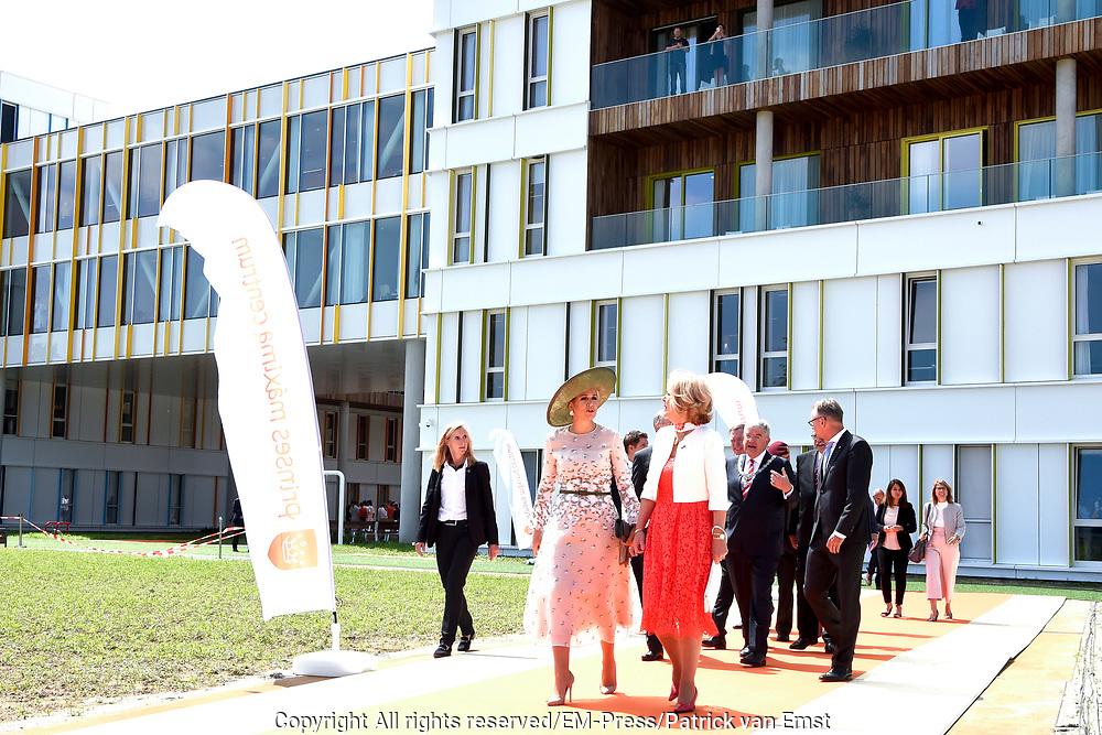 Koningin Maxima tijdens de opening van het Prinses Maxima Centrum voor Kinderoncologie. Queen Maxima during the opening of the Princess Maxima Center for Pediatric Oncology.