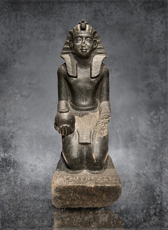 Ancient Egyptian granite statue of Sobekhotep V kneeling with ointment vessels. Egypt 13-14 Dynastie (1750-1700 BC) Berlin Neues Museum Cat No: AM 10645 .<br /> <br /> Visit our HISTORIC WALL ART PRINT COLLECTIONS for more photo prints https://funkystock.photoshelter.com/gallery-collection/Historic-Antiquities-Photo-Wall-Art-Prints-by-Photographer-Paul-E-Williams/C00002uapXzaCx7Y<br /> <br /> Visit our Museum ART & ANTIQUITIES COLLECTIONS to browse more photo at: https://funkystock.photoshelter.com/p/museum-antiquities