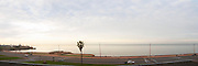 Panorama of the Rio de la Plata coast line Rambla Francia, Rambla Sur and Rambla Gran Bretana at dawn morning sunlight. Montevideo, Uruguay, South America