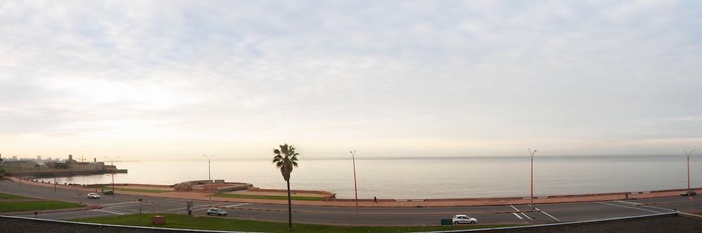 Panorama of the Rio de la Plata coast line Rambla Francia, Rambla Sur and Rambla Gran Bretana at dawn morning sunlight. Montevideo, Uruguay, South America
