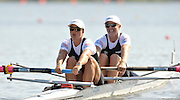 Poznan, POLAND,   NZL W2-. Bow Emma-Jane FEATHERY and Rebecca SCOWN, competing in the heats of the women's pair on the first day of the, 2009 FISA World Rowing Championships. held on the Malta Rowing lake, Sunday 23/08/2009 [Mandatory Credit. Peter Spurrier/Intersport Images]