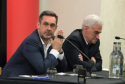 "© Licensed to London News Pictures . 20/04/2016 . Manchester , UK . PAUL MASON and JOHN MCDONNELL . Shadow Chancellor John McDonnell hosts a lecture by former Newsnight and Channel 4 Economics editor , Paul Mason , entitled "" Economic policy amid global slowdown - A view from the North "" , chaired by Salford MP Rebecca Long Bailey , at the Manchester Conference Centre & Pendulum Hotel . Photo credit: Joel Goodman/LNP"