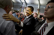 Barack Obama speaks at the Keene High School's school two days before the primary election in Iowa on Jan 8 2008. He talked about hope and about the other candidates criticized him for talking too much about hope.<br /> Photo Ola Torkelsson ©