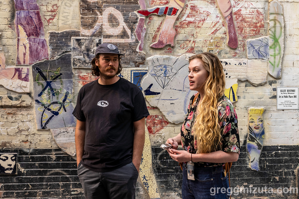 Karl LeClair and Catina Crum. Boise City's Public Art Program Manager Karl LeClair leads a walking tour to explore the City of Boise's public art collection on August 21, 2021. The tour began and ended on the Capitol Blvd. plaza at City Hall (150 N. Capitol Blvd.).