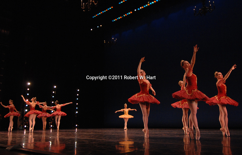 """Texas Ballet Theater dancers perform George Balanchine's """"Themes and Variations"""" during a February 17, 2011 dress rehearsal at Fort Worth's Bass Hall."""