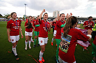 Arsenal players celebrate winning the Women's Super League after  the FA Women's Super League match between Arsenal Women FC and Manchester City Women at Meadow Park, Borehamwood, United Kingdom on 12 May 2019.