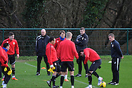 Cardiff city manager Ole Gunnar Solskjaer keeps an eye on Cardiff city team training at the Vale, Hensol, near Cardiff on  Friday 10th Jan 2014.<br /> pic by Andrew Orchard, Andrew Orchard sports photography.