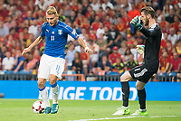Spain's David de Gea and Italy's Ciro Immobile during match between Spain and Italy to clasification to World Cup 2018 at Santiago Bernabeu Stadium in Madrid, Spain September 02, 2017. (ALTERPHOTOS/Borja B.Hojas)