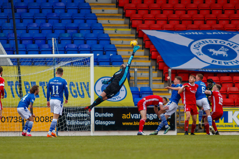 PERTH, SCOTLAND, APRIL, 2021: Joe Lewis (Aberdeen FC Goalkeeper) saves a shot during St Johnstone FC V Aberdeen FC Ladbrokes SPFL Premiership fixture at McDiarmid Park, on April 10, 2021 in Perth, Scotland.<br /> <br /> <br /> (Photo: Ross Johnston/Newsline Media)