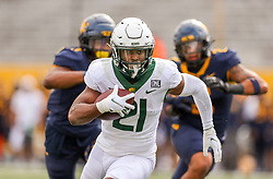 Oct 3, 2020; Morgantown, West Virginia, USA; Baylor Bears wide receiver Josh Fleeks (21) catches a pass for a touchdown during the fourth quarter against the West Virginia Mountaineers at Mountaineer Field at Milan Puskar Stadium. Mandatory Credit: Ben Queen-USA TODAY Sports