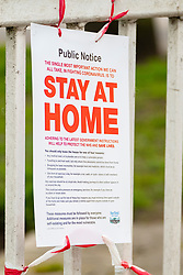 """Sheffield Friday 3 April 2020 <br /> Coronavirus Covid-19 """"Stay At Home"""" notice fastened to the entrances of Ecclesfield Park Sheffield<br /> <br /> 3 April 2020<br /> <br /> www.pauldaviddrabble.co.uk<br /> All Images Copyright Paul David Drabble - <br /> All rights Reserved - <br /> Moral Rights Asserted -"""