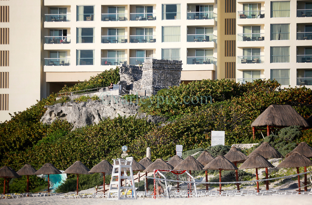 10 Feb 2014. Cancun, Mexico.<br /> The ancient Templo del Alacran, Scorpion's temple from before the 15th century  the tourist beach at Isla Cancun along the Zona Hotelera on the Carribean Sea. <br /> Photo; Charlie Varley/varleypix.com
