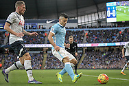 Sergio Agüero (Manchester City) shields the ball during the Barclays Premier League match between Manchester City and Tottenham Hotspur at the Etihad Stadium, Manchester, England on 14 February 2016. Photo by Mark P Doherty.