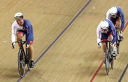 Great Britain team in the Team Sprint Men race during day two of the 2018 European Championships at the Sir Chris Hoy Velodrome, Glasgow. PRESS ASSOCIATION Photo. Picture date: Friday August 3, 2018. See PA story CYCLING European. Photo credit should read: John Walton/PA Wire. RESTRICTIONS: Editorial use only, no commercial use without prior permissionduring day two of the 2018 European Championships at the Sir Chris Hoy Velodrome, Glasgow. PRESS ASSOCIATION Photo. Picture date: Friday August 3, 2018. See PA story CYCLING European. Photo credit should read: John Walton/PA Wire. RESTRICTIONS: Editorial use only, no commercial use without prior permission