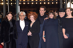 Jury members Adele Romanski, Ryuichi Sakamoto, Stephanie Zacharek, Tom Tykwe with Marie Steinbach, Berlinale Festival Director Dieter Kosslick, Cecile de France and Chema Prado attending the Opening Ceremony and the Isle of Dogs Premiere during the 68th Berlin International Film Festival (Berlinale) in Berlin, Germany on February 15, 2018. Photo by Aurore Marechal/ABACAPRESS.COM