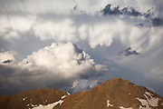 Dramatic storm clouds build over the summit ridge of Baker Mountain, Never Summer Wilderness, Colorado.
