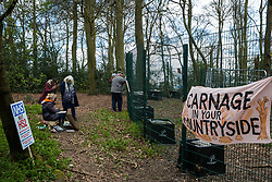 Wendover, UK. 9th April, 2021. Environmental activists use paints to document tree felling operations for the HS2 high-speed rail link in Jones Hill Wood, ancient woodland said to have inspired Roald Dahl,. Tree felling work began this week, in spite of the presence of resting places and/or breeding sites for pipistrelle, barbastelle, noctule, brown long-eared and natterer's bats, following the issue by Natural England of a bat licence to HS2's contractors on 30th March.