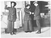 World War I - 1914-1918.  After conscription in 1916, British women took over many civilian jobs.  Women ticket collector and porter on the London underground railway.