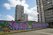 The Wyndham and Comber housing estate on 24th June 2016 in London, United Kingdom. The Wyndham and Comber is a council estate in the Camberwell area of Southwark, London.