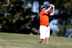 Judd Davis tees off during the Chick-fil-A Peach Bowl Challenge at the Oconee Golf Course at Reynolds Plantation, Sunday, May 1, 2018, in Greensboro, Georgia. (Paul Abell via Abell Images for Chick-fil-A Peach Bowl Challenge)