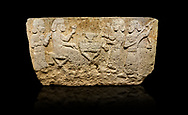 Hittite monumental relief sculpted orthostat stone panel from Water Gate Limestone, Karkamıs, (Kargamıs), Carchemish (Karkemish), 900-700 BC.  Anatolian Civilisations Museum, Ankara, Turkey.<br /> <br /> The figure sitting on a stool to the left of the table holds a goblet in his right hand which he raised upwards. Behind, there is a servant with a fan in his hand. On the other side of the table is another servant waits with a vessel in the hands. The rightmost figure plays a Saz (a stringed musical instrument) with the tassel on the handle. <br /> <br /> On a black background. .<br />  <br /> If you prefer to buy from our ALAMY STOCK LIBRARY page at https://www.alamy.com/portfolio/paul-williams-funkystock/hittite-art-antiquities.html  - Type  Karkamıs in LOWER SEARCH WITHIN GALLERY box. Refine search by adding background colour, place, museum etc.<br /> <br /> Visit our HITTITE PHOTO COLLECTIONS for more photos to download or buy as wall art prints https://funkystock.photoshelter.com/gallery-collection/The-Hittites-Art-Artefacts-Antiquities-Historic-Sites-Pictures-Images-of/C0000NUBSMhSc3Oo