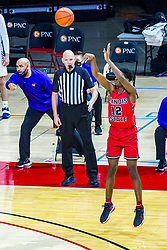 NORMAL, IL - February 27: James Durham keeps an eye on Antonio Reeves shooting a long jump shot during a college basketball game between the ISU Redbirds and the Northern Iowa Panthers on February 27 2021 at Redbird Arena in Normal, IL. (Photo by Alan Look)