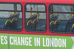 ©Licensed to London News Pictures 13/05/2020<br /> Greenwich, UK. Empty seats on buses this morning around Greenwich, London. After seven weeks of Coronavirus lockdown people start to head back to work this morning. Photo credit: Grant Falvey/LNP