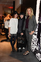Left to right, TABITHA DENHOLM, ELLIE GRACE CUMMINGS and PHOEBE COLLINGS-JAMES at the opening of the Tiger of Sweden Store, 210 Piccadilly, London on 3rd October 2013.