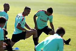 June 7, 2017 - Lisbon, Portugal - Portugal's forward Cristiano Ronaldo (C ) warms up during a training session at ''Cidade do Futebol'' (Football City) training camp in Oeiras, outskirts of Lisbon on June 7, 2017, ahead of the FIFA World Cup Russia 2018 qualifier match Latvia vs Portugal. Photo: Pedro Fiuza. (Credit Image: © Pedro Fiuza via ZUMA Wire)