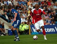 Photo: Tony Oudot.<br /> Gillingham v Charlton Athletic. Pre Season Friendly. 28/07/2007.<br /> Chris Iwelumo of Charlton goes past Simon King of Gillingham