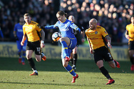 Pawel Cibicki of Leeds Utd breaks away from David Pipe of Newport county. Emirates FA Cup , 3rd round match, Newport county v Leeds Utd at Rodney Parade in Newport, South Wales on Sunday 7th January 2018.<br /> pic by Andrew Orchard,  Andrew Orchard sports photography.