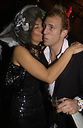 Julia Campbell carter and Carlo Carella. Halloween Party in aid of the MS Society. The Collection. 31 October 2005. ONE TIME USE ONLY - DO NOT ARCHIVE © Copyright Photograph by Dafydd Jones 66 Stockwell Park Rd. London SW9 0DA Tel 020 7733 0108 www.dafjones.com