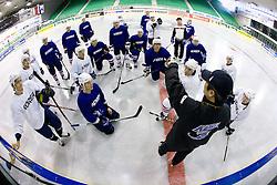Head Coach of Korea KIM HEE WOO and Team of Korea at practice during the IIHF World Championship Division 1 Group B tournament, on April 21, 2010, in Hala Tivoli, Ljubljana, Slovenia.  (Photo by Vid Ponikvar / Sportida)