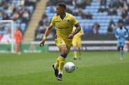 Bristol Rovers forward Johnson Clarke-Harris (19) looks to release the ball during the EFL Sky Bet League 1 match between Coventry City and Bristol Rovers at the Ricoh Arena, Coventry, England on 7 April 2019.