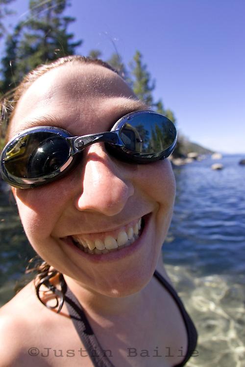 Portrait of young woman taken in Lake Tahoe, CA.