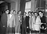 """Bill Haley - the Rock and Roll King visits Dublin.27/02/1957..Bill Haley (06/07/1925 – 09/02/1981) was one of the first American rock and roll musicians. He is credited by many with first popularizing this form of music in the early 1950s with his group Bill Haley & His Comets and their hit song """"Rock Around the Clock""""."""