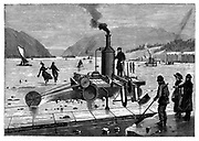 Cutting ice on the St Lawrence river, Canada, using a steam-powered saw. In background on right are insulated sheds used to store the ice for use in the summer . Wood engraving London 1894