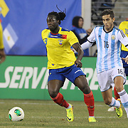 Felipe Caicedo, Ecuador, in action during the Argentina Vs Ecuador International friendly football match at MetLife Stadium, New Jersey. USA. 15th November 2013. Photo Tim Clayton