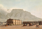 The New Theatre in Hottentot Square Cape Town, Table Mountain in the background hand colored plate from the collection of  ' African scenery and animals ' by Daniell, Samuel, 1775-1811 and Daniell, William, 1769-1837 published 1804