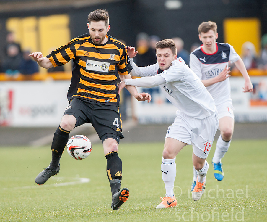 Alloa Athletic's Ben Gordon and Falkirk's Lewis Small.<br /> Alloa Athletic 3 v 0 Falkirk, Scottish Championship game played today at Alloa Athletic's home ground, Recreation Park.<br /> © Michael Schofield.