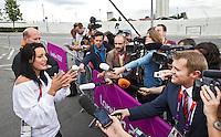 LONDON - Judoka Edith Bosch staat maandag de nationale en internationale pers te woord over haar incident in het Olympisch Stadion. ANP KOEN SUYK