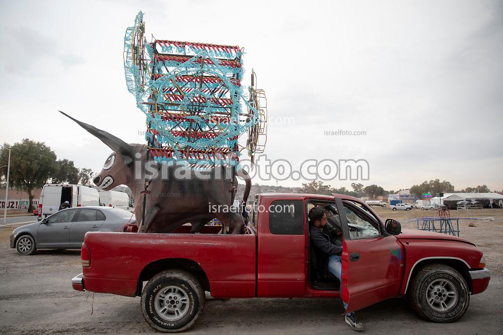 07 marzo 2021, Tultepec, México.  Torrito tradicional de Tultepec, Estado de México, hecho para la celebración anual de San Juan de Dios, patrón de los pirotécnicos.