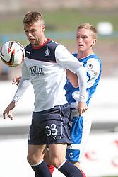 Falkirk's Rory Loy and Cowdenbeath's Dean Brett.<br /> Half time; Cowdenbeath v Falkirk, 14/9/2013.<br /> ©Michael Schofield.
