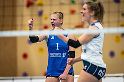 Christie Wolt of Sliedrecht Sport in action during the first league match in the corona lockdown between Talentteam Papendal vs. Sliedrecht Sport on January 09, 2021 in Ede.