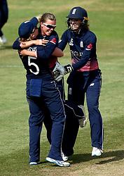 Alex Hartley of England Women celebrates with Heather Knight of England Women after taking the wicket of Meg Lanning of Australia Women - Mandatory by-line: Robbie Stephenson/JMP - 09/07/2017 - CRICKET - Bristol County Ground - Bristol, United Kingdom - England v Australia - ICC Women's World Cup match 19