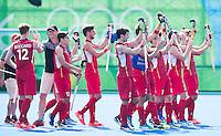 RIO DE JANEIRO  (Brazilië) - Happy  Belgium team after  the poule match hockey men Belgium v Great Britain (4-1),  Olympic Games 2016 . Copyright Koen Suyk