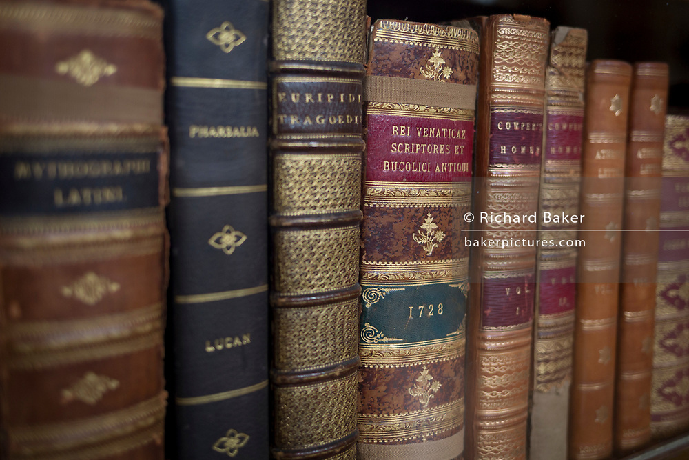 Classical literature on bookshelves in the Enlightenment Gallery of the British Museum, on 11th April 2018, in London, England.
