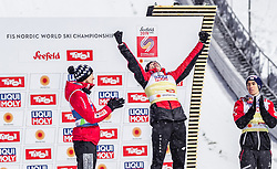 01.03.2019, Seefeld, AUT, FIS Weltmeisterschaften Ski Nordisch, Seefeld 2019, Skisprung, Herren, Flower Zeremonie, im Bild Silbermedaillengewinner Kamil Stoch (POL), Goldmedaillengewinner und Weltmeister Dawid Kubacki (POL), Bronzemedaillengewinner Stefan Kraft (AUT) // Silver medallist Kamil Stoch (POL) Gold Medallist and World Champion Dawid Kubacki (POL) Bronze medallist Stefan Kraft (AUT) during the flowers ceremony for the men's Skijumping of FIS Nordic Ski World Championships 2019. Seefeld, Austria on 2019/03/01. EXPA Pictures © 2019, PhotoCredit: EXPA/ JFK