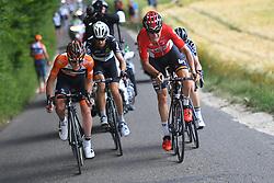 June 17, 2017 - Schaffhausen, Suisse - SCHAFFHAUSSEN, SWISS - JUNE 17 : WALLAYS Jelle of Lotto Soudal, VAN DER LIJKE Nick of Roompot - Nederlandse Loterij, VENTER Jaco of Dimension Data, TRENTIN Matteo of Quick-Step Floors during stage 8 of the Tour de Suisse cycling race, a stage of 100 kms between Schaffhaussen and Schaffhaussen on June 17, 2017 in Schaffhaussen, Swiss, 17/06/2017 (Credit Image: © Panoramic via ZUMA Press)